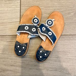 Jack Rogers Navy and White Sandals